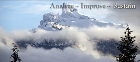 Pacific Coast Manufacturing Consultants Business Improvement page image  with the words Analyze - Improve - Sustain