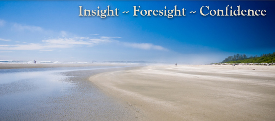 Pacific Coast Manufacturing Consultants' landscape image with words, Insight - Foresight - Confidence
